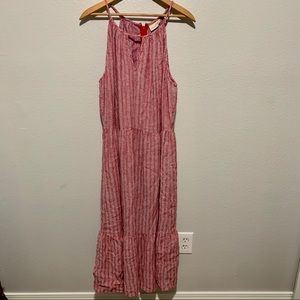 Red&White Patterned Maxi Sundress